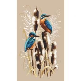 K 10439 Gobelin - Eisvögel im Schilf