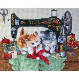 Stickpackung - Nähende Katzen