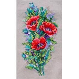 Stickpackung - Mohnblumen im Vintage-Stil