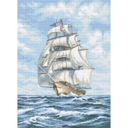 Stickpackung - Schiff auf Meer