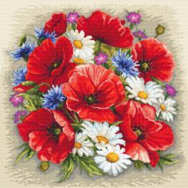 ZN 10634 Set mit Aida mit Aufdruck und Stickgarn - Sommermagie der Blumen
