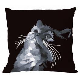 Stickpackung mit Kissenbezug - Graue Katze