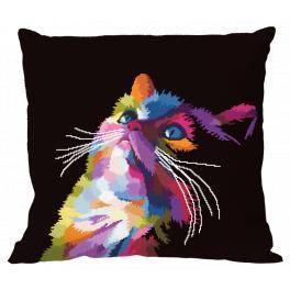Zählmuster - Kissen - Bunte Katze