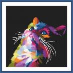 GC 10637 Stickvorlage - Bunte Katze