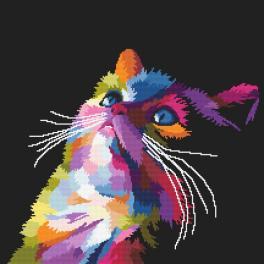 Aida mit Aufdruck - Bunte Katze
