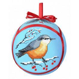 Zahlmuster ONLINE pdf - Weihnachtskugel mit Vogel