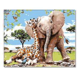 CZ 37215 Set zum Malen nach Zahlen - Giraffe mit Elefantchen