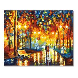 49171 Set zum Malen nach Zahlen - Abendspaziergang im Regen