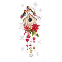 ZI 10444 Stickpackung mit Stickgarn und Perlen - Weihnachtshäuschen