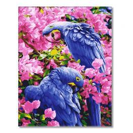 GX25245 Malen nach Zahlen - Kleine Papageien in Blumen