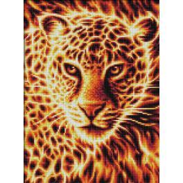 M AZ-1849 Diamond Painting Set - Leopard in Flammen
