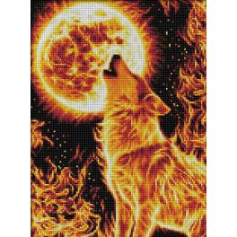 M AZ-1855 Diamond Painting Set - Wolf in Flammen