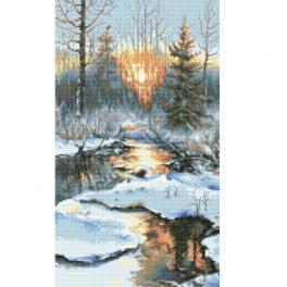 ZN 10304 Stickpackung mit Aufdruck - Sonnenuntergang im Winter