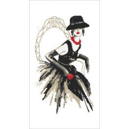 ZN 10426 Stickpackung mit Aufdruck - Schwarze Dame mit Rose