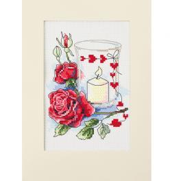 ZU 10302 Stickpackung - Valentinstagskarte mit einer Kerze