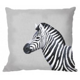 ZU 10656-01 Stickpackung - Kissen - Schwarzweißes Zebra