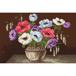 K 4016 Gobelin - Haus auf dem Lande - Blumen in der Vase