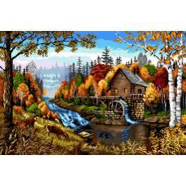 GC 7308 Zählmuster - Landschaft mit einer Mühle