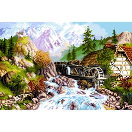 GC 7304 Zählmuster - Berglandschaft - Wassermühle mit Fluss