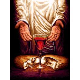 K 7271 Gobelin - Jesus Christus - Brot und Wein