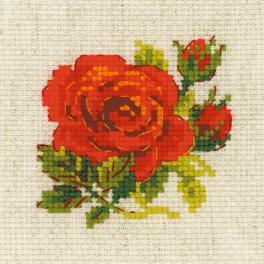 RIO 1843 Stickpackung mit Wollgarn - Rote Rose