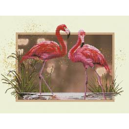 NCB 4507 Stickpackung mit Hintergrund - Flamingos