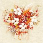 RIO 1913 Stickpackung mit Wollgarn - Blumenstrauß mit Baumwolle