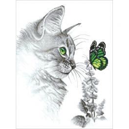 ZI 10300 Stickpackung mit Stickgarn und Perlen - Kätzchen mit einem Schmetterling