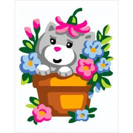 CA 3333K Gobelin Stickset - Kätzchen im Blumentopf