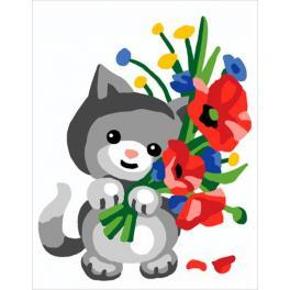 CA 3332K Gobelin Stickset - Kätzchen mit Mohnblumen