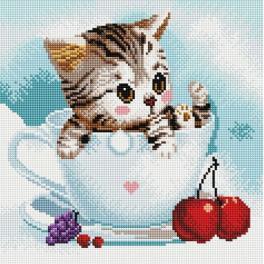 PD3030004 Diamond Painting Set - Kätzchen und Kirschen
