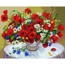 PD4050117 Diamond Painting Set - Kornblumen, Gänseblümchen und Mohnblumen