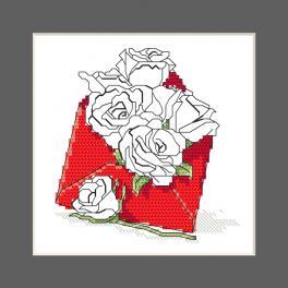 ZU 10327-03 Stickpackung - Karte - Briefumschlag voller Rosen