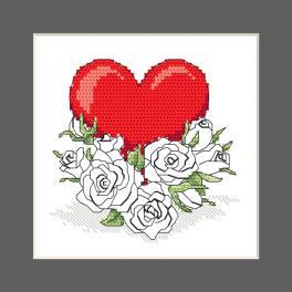 ZU 10327-02 Stickpackung - Karte - Herz mit Rosenblumen