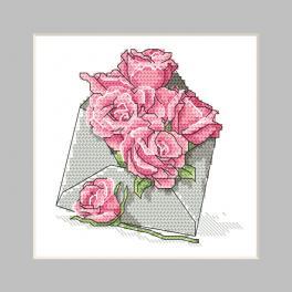 ZU 10326-03 Stickpackung - Karte - Briefumschlag mit Rosen