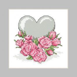 ZU 10326-02 Stickpackung - Karte - Herz mit Rosen