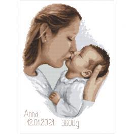 Z 10457 Stickpackung - Geburtsschein - Mutterkuss