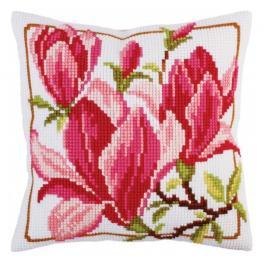 CA 5292 Stickpackung vorgedruckt - Kreuzstichkissen - Magnolienblüten