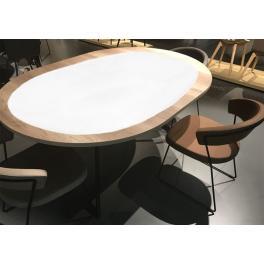 998-01 Ovaler Tischläufer Aida mit Spitze 50x110 cm weiß