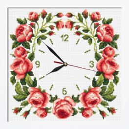 ZGRI 10677 Stickpackung mit Stickgarn und Perlen, Uhrwerk und Rahmen - Uhr mit Rosen