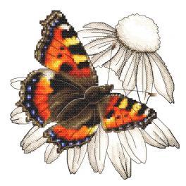 W 10331 Kreuzstichvorlage PDF - Schmetterling und Echinaceablume