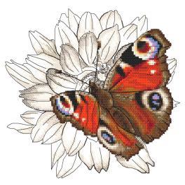 W 10330 Kreuzstichvorlage PDF - Schmetterling und Dahlienblume