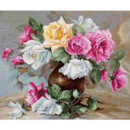 LS B587 Stickpackung - Vase mit Rosen