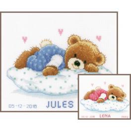 VPN-0002201 Stickpackung - Geburtsschein - Schlafender Teddybär