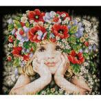 LPN-0156698 Stickpackung - Mädchen mit Blumen