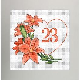 W 10342 Kreuzstichvorlage PDF - Geburtstagskarte - Herz mit Lilien