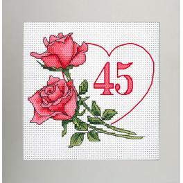 W 10341 Kreuzstichvorlage PDF - Geburtstagskarte - Herz mit Rosen