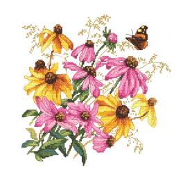 W 10471 Kreuzstichvorlage PDF - Farbenfrohe Blumen