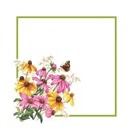 W 10469 Kreuzstichvorlage PDF - Serviette mit Blumen