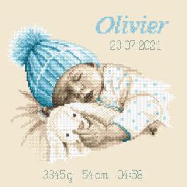 W 10337 Kreuzstichvorlage PDF - Geburtsschein - Süßer Traum eines Jungen